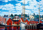 Building mural depicting Lunenburg waterfront