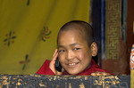 Young monk with cell phone at Rinpung Dzongkhag (Paro Dzong), Bhutan