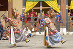 Dance of the Lord of Death and his consort (Shinje yab yum) at the Paro Tsechu (festival), Bhutan