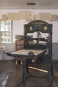 Old printing press in Columbia Gazette office at Columbia State Historic Park, California