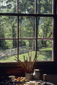 View of garden from kitchen window of Ash Lawn-Highland, home of President James Monroe
