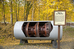 """Pigs"" (trans-Alaska pipeline scrubbers) on display at Alyeska Pipeline Visitor Center"