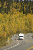 Recreational vehicle (RV) on the Parks Highway, Alaska