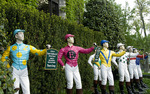 Jockey lawn statues (hitching posts) at Keeneland, Lexington, Kentucky