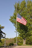 American flag at half-mast for 29 coal miners who died in an explosion in a WV mine