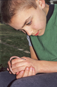 Boy with eastern worm snake
