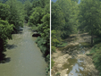 Stream during high water and during drought