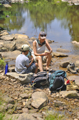 Grandmother and grandson eating lunch along Red Creek in the Dolly Sods Wilderness in WV