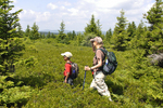 Grandmother and grandson hiking along the Alleghen Front in the Dolly Sods Scenic Area in WV