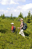 Grandmother and grandson hiking along the Allegheny Front in the Dolly Sods Scenic Area in WV