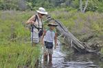 Grandmother and grandson wading Big Run below the Olsen Bog in WV