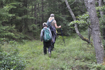 Lady and young boy hiking