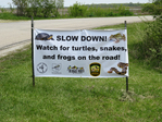 Slow Down - watch for snakes, turtle and frogs on the road sign