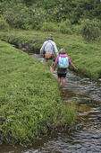 Mother and daughter wading in Big Run
