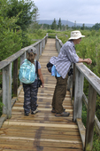 Mother and daughter on Freeland Trail boardwalk in the Canaan Valley National Wildlife Refuge