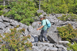 Young girl hiking the Beatty Labyrinth rock field in the Dolly Sods Wilderness