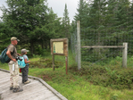 Grandfather and granddaughter learing about the white-tailed deer exclusion fence along the Freeland Trail boardwalk