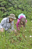 Mother and daughter looking at Pitcher Plants