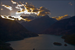 Last Light of Day, Diablo Lake and Sourdough Mountain, Ross Lake NRA and North Cascades NP, WA