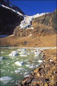 The Angel Glacier and icebergs under Mount Edith Cavell in the Canadian Rockies