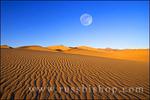 Full moon over dune patterns on the Mesquite Flat Sand Dunes