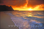 Sunset over surf, sand and peaks from Tunnels Beach, Ha'ena on the North Shore