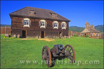 Cannon, officers residence and chapel at Fort Ross