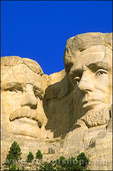Morning light on Roosevelt and Lincoln faces on Mount Rushmore, Mount Rushmore National Memorial, South Dakota