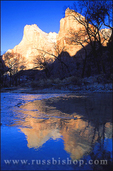 Morning light on the Court of the Patriarchs reflected in the Virgin River, Zion Canyon, Zion National Park, Utah