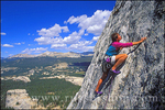 Rock climber on the Regular Route on Fairview Dome in Tuolumne Meadowsm Sierra Nevada Mountains