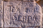 Pioneer inscriptions at Register Cliffs (National Historic Site) on the Oregon Trail near Guernsey, Wyoming