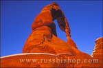 Warm evening light on Delicate Arch in winter, Arches National Park, Utah