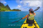 Sea kayaking along the Na Pali Coast, Island of Kauai, Hawaii