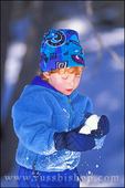 Child (age 3) making a snow ball, San Bernadino Mountains, California