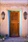 Door and porch lights, Rancho de Taos, New Mexico