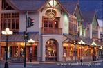 Shops and street lamps along Banff Avenue, Banff National Park, Alberta, Canada