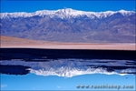 Telescope Peak reflected in salt pool at Badwater (lowest point in the US), Death Valley National Park, California