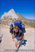 Backpackers under Cathedral Peak, Tuolumne Meadows, Yosemite National Park, California