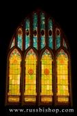 Stained glass windows at night at Wai'oli Hui'ia Church, Hanalei, Island of Kauai, Hawaii