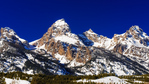 The Cathedral Group in winter, Grand Teton National Park, Wyoming USA