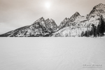 The Cathedral Group above frozen Jenny Lake, Grand Teton National Park, Wyoming USA