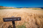 Smugglers Cove sign at Scorpion Ranch, Santa Cruz Island, Channel Islands National Park, California USA