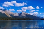 Afternoon light on Mount Sampson from the shore of Maligne Lake, Jasper National Park, Alberta, Canada