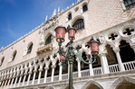 The Doge's Palace (Palazzo Ducale) and street lamp, Venice, Veneto, Italy