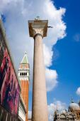 Campanile San Marco (St Mark's Basilica bell tower) and column, Venice, Veneto, Italy