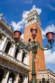 Campanile San Marco (St Mark's Basilica bell tower) and street lamp, Venice, Veneto, Italy