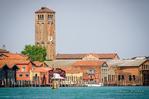 Clocktower and docks, Murano, Veneto, Italy