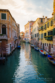 Evening light on canal and boats, Venice, Italy