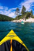 Kayaking in Emerald Bay at Fannette Island, Emerald Bay State Park, Lake Tahoe, California USA