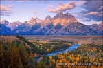 Morning light on the Grand Tetons from the Snake River overlook, Grand Teton National Park, Wyoming